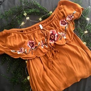 off-shoulder top:mustard yellow floral